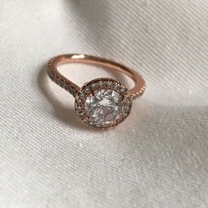 Jewelry - Rose tone & CZ halo cut engagement ring size 5